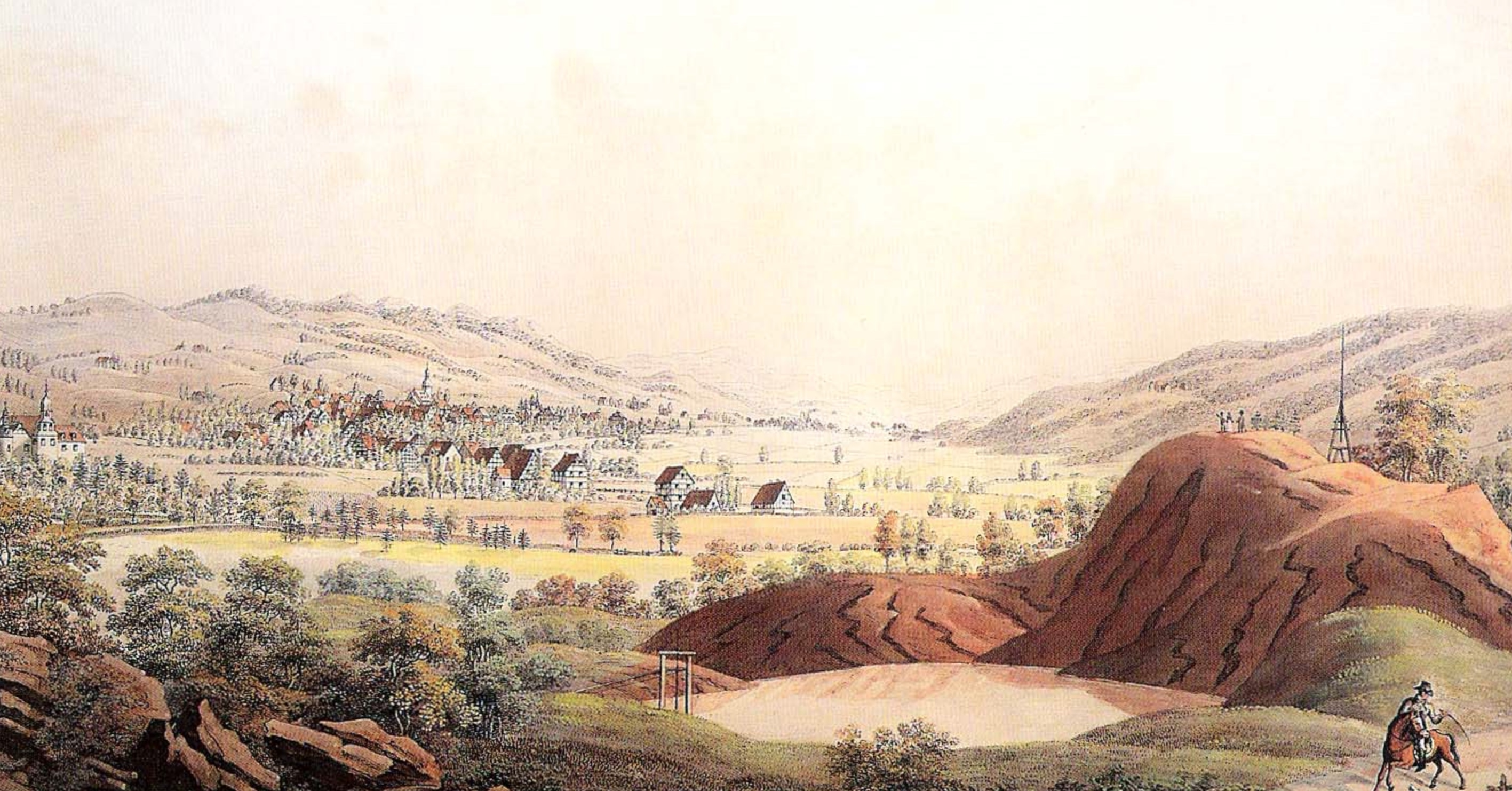 """Das Bild """"Die roten Berge» malte Johann Heinrich Bleuler zwischen 1804 und 1820 in Feuerthalen."""