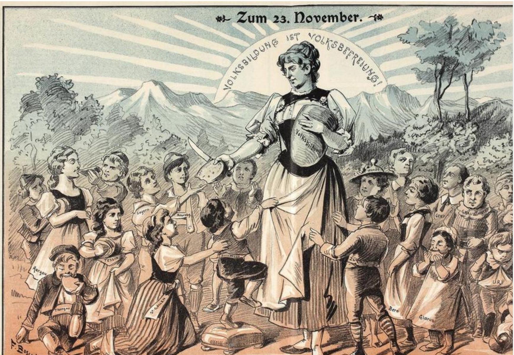 Die Karikatur verdeutlicht den hohen Wert der Bildung im liberalen Staat. Helvetia verteilt gratis Bildung an die wissenshungrigen Kinder (Karikatur 1902).