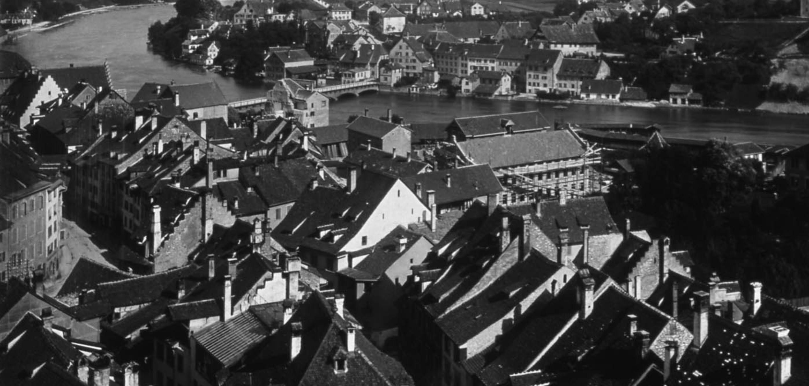 Blick vom Schaffhauser St. Johann-Turm nach Feuerthalen um 1900.