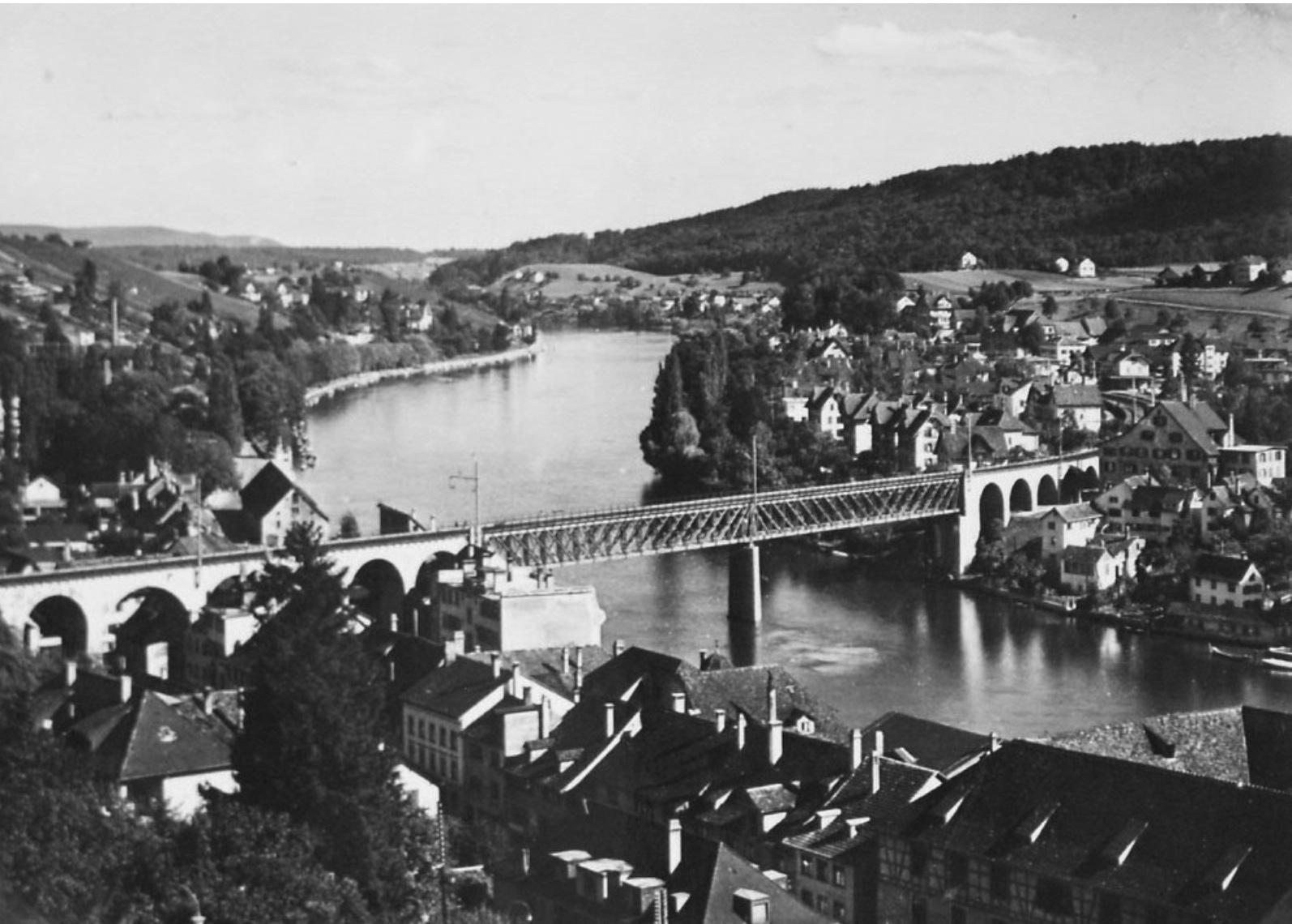Blick von Schaffhausen nach Feuerthalen um 1952.